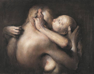 Women Together Painting - The Kiss by Odd Nerdrum