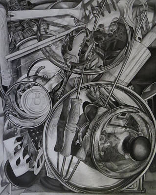 Reflective Drawing - The Kitchen Drawer by Tara Aguilar