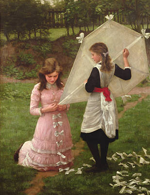 Kids Flying Kite Painting - The Kite by John Morgan