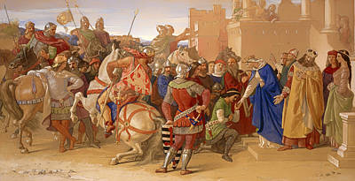 Knights Castle Painting - The Knights Of The Round Table About To Depart In Search Of The Holy Grail by Mountain Dreams