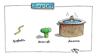Broccoli Drawing - The Labels Beneath Images Of Spaghetti by Farley Katz