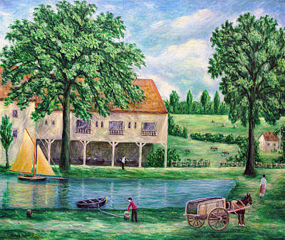 Horse And Cart Painting - The Lake District Boat House by Ronald Haber