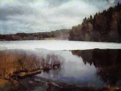 Winter Digital Art - The Lake In My Little Village by Gun Legler