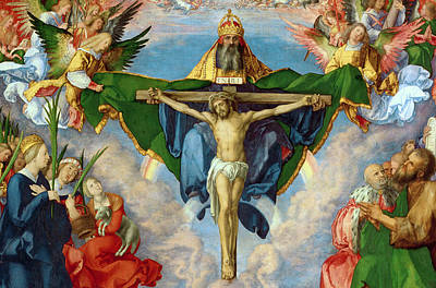 Crucifix Painting - The Landauer Altarpiece by Albrecht Durer