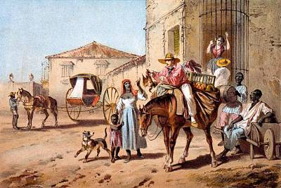 Horse Drawing - The Landlord, 1840 by Federico Mialhe