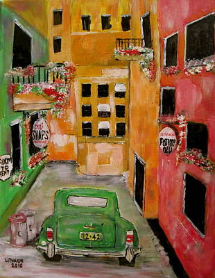 Litvack Naive Painting - The Laneway Mixed Signals by Michael Litvack