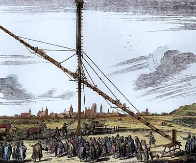 Danzig Photograph - The Large Astronomical Telescope Of Johannes Hevelius 1611-1687 Illustration From Machina Coelestis by Polish School