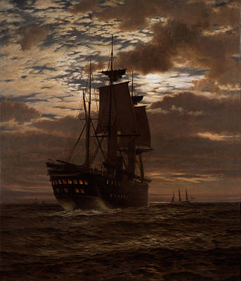Fading Painting - The Last Indian Troopship Hms Malabar by Charles Parsons Knight