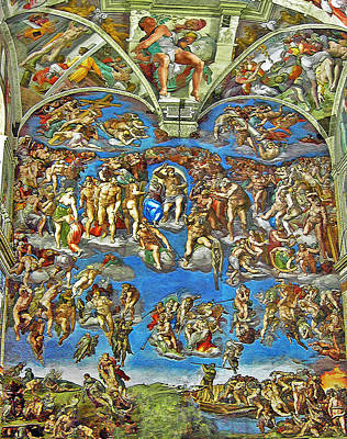 Christian Artwork Mixed Media - The Last Judgement by Michelangelo