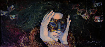 Carnivale Painting - The Last Secret by Dorina  Costras