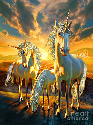 Unicorn Digital Art - The Last Unicorns by Adrian Chesterman