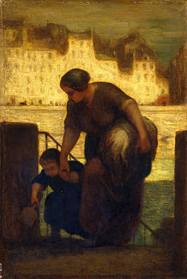 Daumier Painting - The Laundress by Honore Daumier