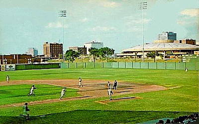 The Lawrence Baseball Stadium In Wichita Ks Around 1920 Print by Dwight Goss