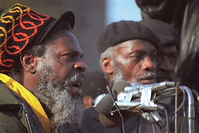 The Leaders Of A Local Antyracist Movement While Performing Their Speach During Toronto Riots 1992 Print by T Monticello