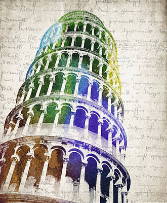 Wonders Of The World Digital Art - The Leaning Tower Of Pisa by Aged Pixel