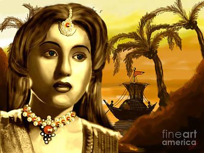 The Legend Actress Madhubala Print by Artist Nandika  Dutt