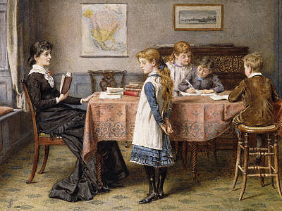 Sisters Painting - The Lesson by  George Goodwin Kilburne