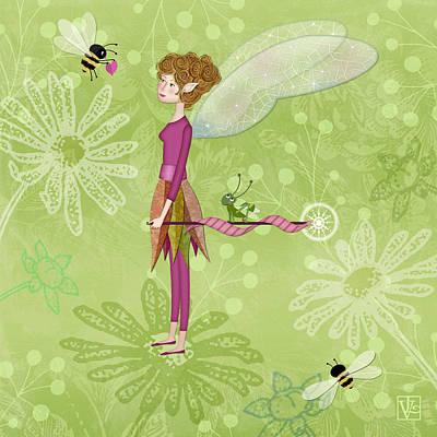 The Letter F Is For Fairy Print by Valerie Drake Lesiak