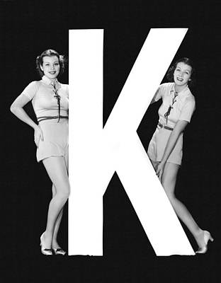 The Letter k  And Two Women Print by Underwood Archives