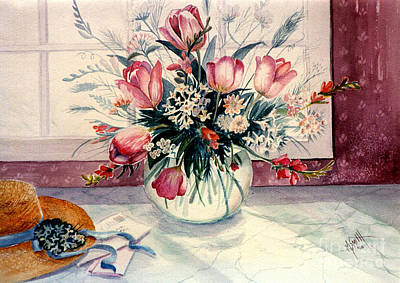 Marble Flower Vases Painting - The Letter by Marilyn Smith
