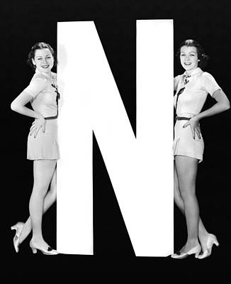 The Letter n  And Two Women Print by Underwood Archives