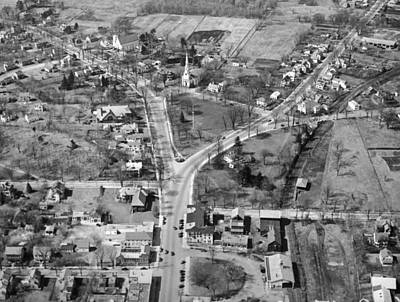 Birds Eye View Photograph - The Lexington Battle Green by Underwood Archives