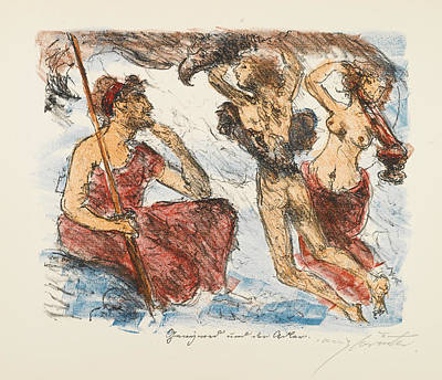 Lovis Corinth Drawing - The Liaisons Of Zeus by Lovis Corinth