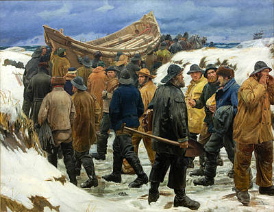 Michael Ancher Painting - The Lifeboat Is Taken Through The Dunes by Michael Ancher