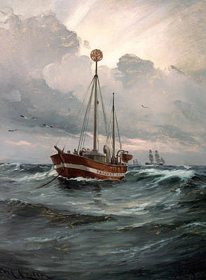 The Light Ship At Skagen Reef Print by Mountain Dreams