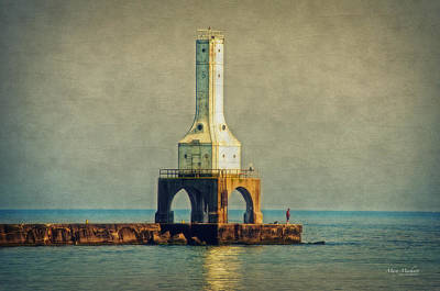 The Lighthouse And The Fisherman Print by Mary Machare