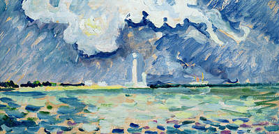 Paul Signac Painting - The Lighthouse At Gatteville by Paul Signac