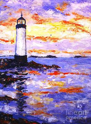 Sea View Painting - The Lighthouse by Cristina Stefan