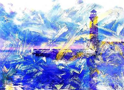 The Lighthouse Through Turbulent Waters Print by PainterArtist FIN
