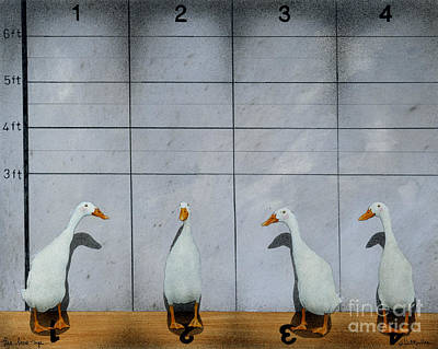 Ducks Painting - The Line Up... by Will Bullas