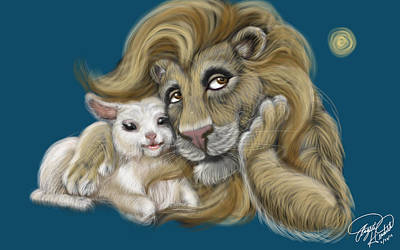 The Lion And The Lamb  Print by Angela  Hendricks