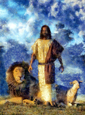 Christian Art Painting - The Lion And The Lamb by Christian Art