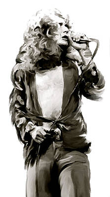 Musicians Drawing - The Lion  Robert Plant by Iconic Images Art Gallery David Pucciarelli