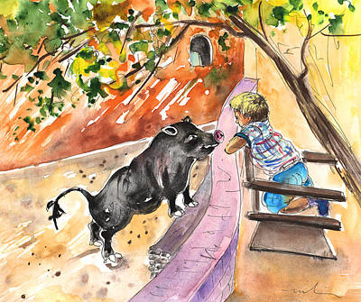 Pig Drawing - The Little Boy And The Black Pig by Miki De Goodaboom