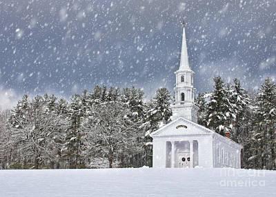 The Little Chapel In Winter Print by Jayne Carney