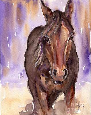 Horse Eye Painting - Horse Watercolor Painting The Little Horse by Maria's Watercolor