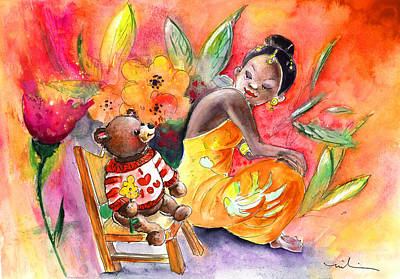 Canary Drawing - The Little Princess And The Little Bear by Miki De Goodaboom