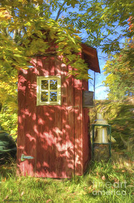 Shadows Painting - The Little Red House by Veikko Suikkanen