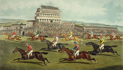 Steeplechase Race Painting - The Liverpool Grand National Steeplechase Coming In by Charles Hunt and Son