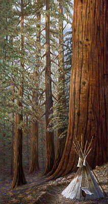 The Lone Tee Pee Redwood Print by Gregory Perillo