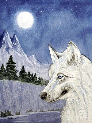 Wolf Watercolor Painting - The Lone Wolf by Bill Holkham