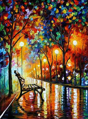 The Loneliness Of Autumn - Palette Knife Landscape Park Oil Painting On Canvas By Leonid Afremov Original by Leonid Afremov