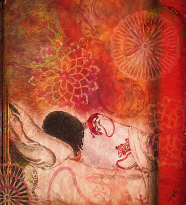 Mystical Women Mixed Media - With My Colored Self by Andrea Ribeiro