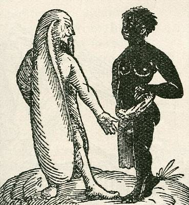 The Long Eared Man Scolds His Servant Print by English School