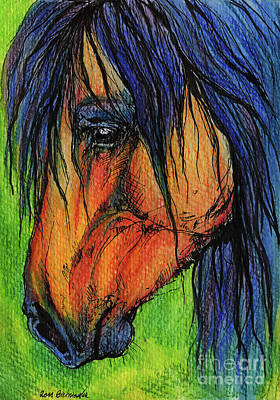 Horse Crazy Drawing - The Long Mane by Angel  Tarantella