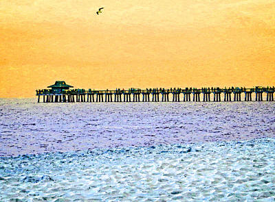 Buying Online Mixed Media - The Long Pier - Art By Sharon Cummings by Sharon Cummings